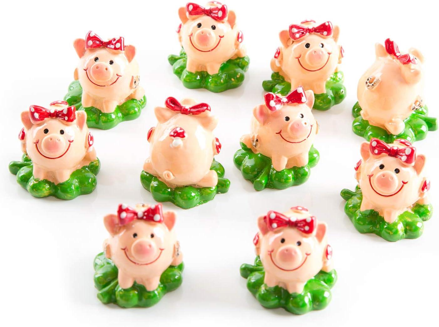 32 Glücksfiguren 4 cm Schweinchen Schornsteinfeger mit Kleeblatt Glücksbringer