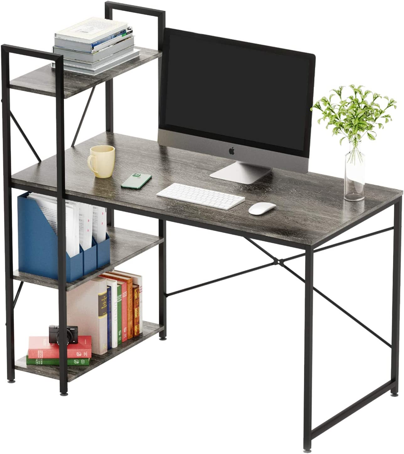 Bestier Computer Desk with Shelves,Writing Desk with Storage Bookshelf Reversible Study Table Office Corner Desk with Shelves Home Office Desk with Bookshelf Easy Assemble (47 Inch, Grey)