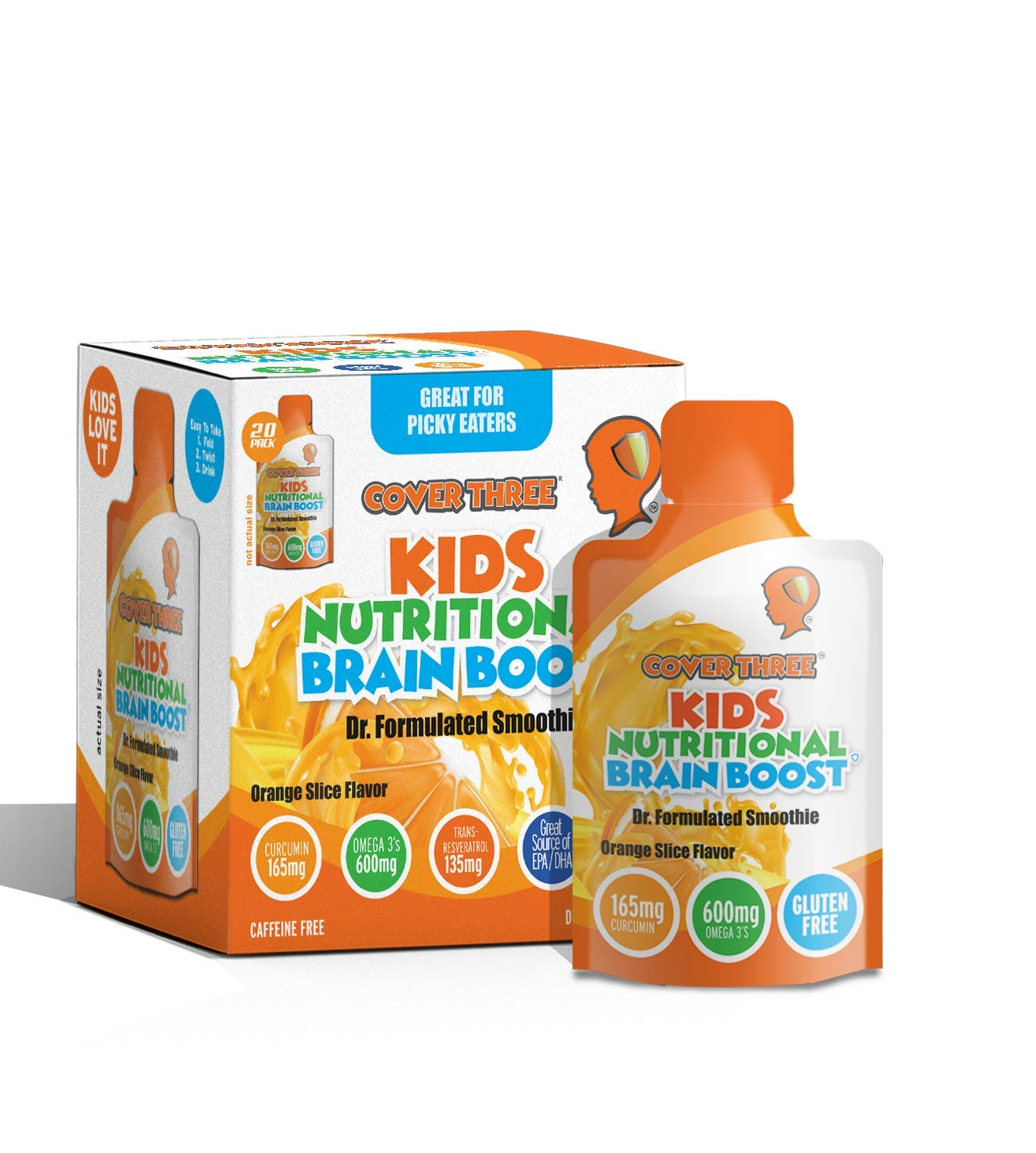 Kids Nutritional Brain Supplement with Immune Boosters - Healthy Brain Function, Vision & Heart Health - Omega Fish Oil DHA EPA, VIT C, Turmeric - Boost Child Memory & Focus - Liquid Squeeze Pouch by Cover Three