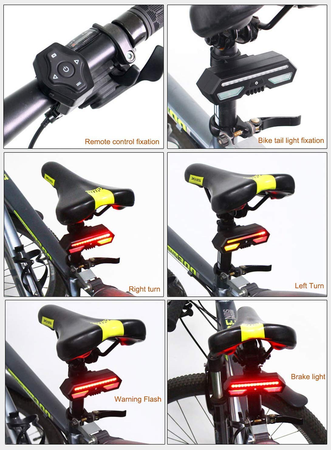 Safety Warning Bike Brake Lights and Flashing Lights Waterproof IPX4 Sanwotech Ultra Bright Bike Rear Light Wireless Remote Control USB Rechargeable Bicycle Taillight Bike Tail Light with Turn Signals