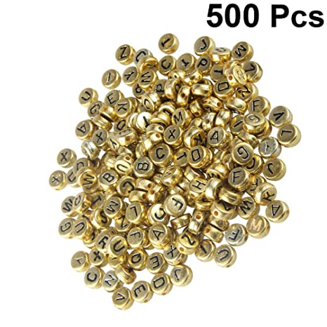 SUPVOX 500PCS Round Letter Beads Gold Alphabet Beads Alphabet Spacer Beads for Jewelry Making Bracelets Necklaces
