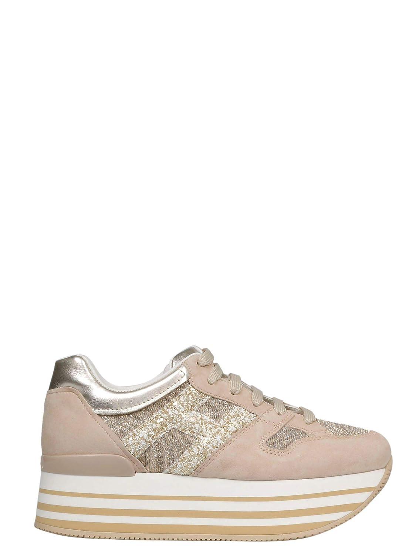 - Hogan Women's HXW2830U352KGD0H04 Pink Leather Sneakers
