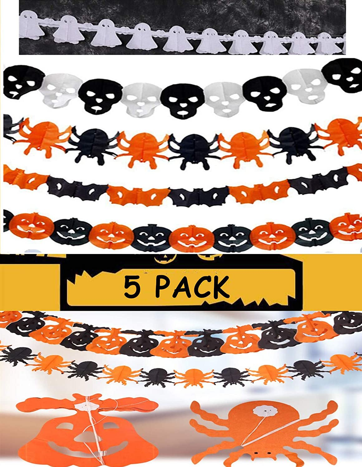 5 pack Happy Halloween Banner | Halloween Mantel Banner | Halloween Banner Indoor Outdoor | Halloween Banner Decoration | Halloween Decor for Mantle Fireplace Home Office | Halloween Party Decorations Supplies