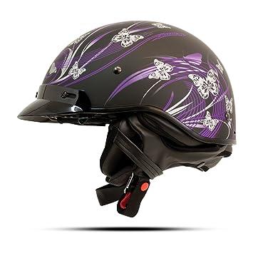 Zoan cascos de la ruta 66 mitad casco – pero terfly BLK/morado – XL