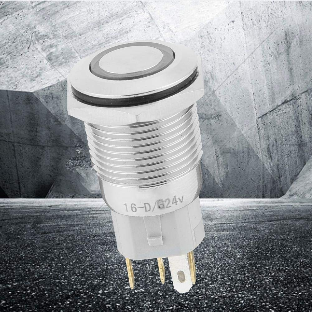 Green 40pcs 16mm Momentary Push Button Switch Auto Reset Metal Flat Head 24V LED Light 5-Pin BEM-16-11D