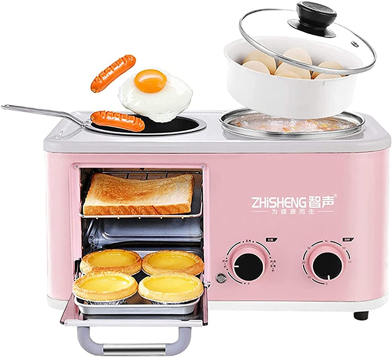 HCHENX Mini Oven Four In One Breakfast Machine - Small Portable Electric Grill - Adjustable Temperature Control, Timer - Multi Cooking Function Grill And Bake Various Capacities (1.2L) Toaster Oven ai