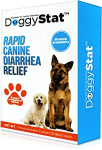 DoggyStat Dog Anti Diarrhea Supplement - Vet Tested, Fast-Acting Supplement That Relieves Diarrhea and Helps with Giardia - All Natural Probiotic-Like Food, Safe for Puppies and Cats - 3 uses per Box