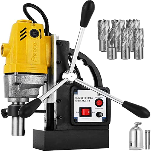 Mophorn 1100W Magnetic Drill Press with 1-1 2 Inch 40mm Boring Diameter MD40 Magnetic Drill Press Machine 2810 LBS Magnetic Force Magnetic Drilling System 670 RPM with 6 Pcs HSS Annular Cutter Kit