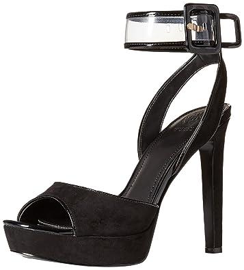 faa6ba298799 GUESS Women s CATANA Heeled Sandal Black 10 Medium US