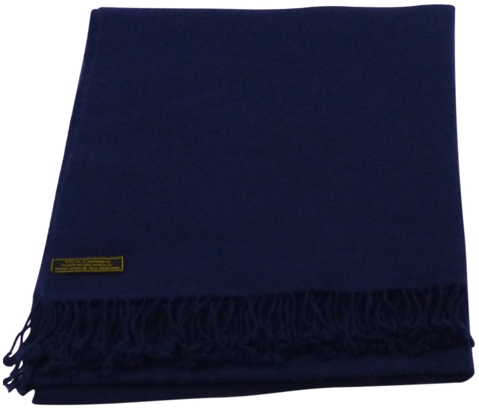 Navy Blue High Grade 100% Cashmere Shawl Scarf Hand Made in Nepal CJ Apparel NEW