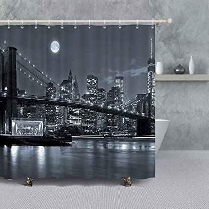 New York City Skyline Shower Curtain Black And WhiteUSA Cityscape Decor NYC Manhattan Brooklyn