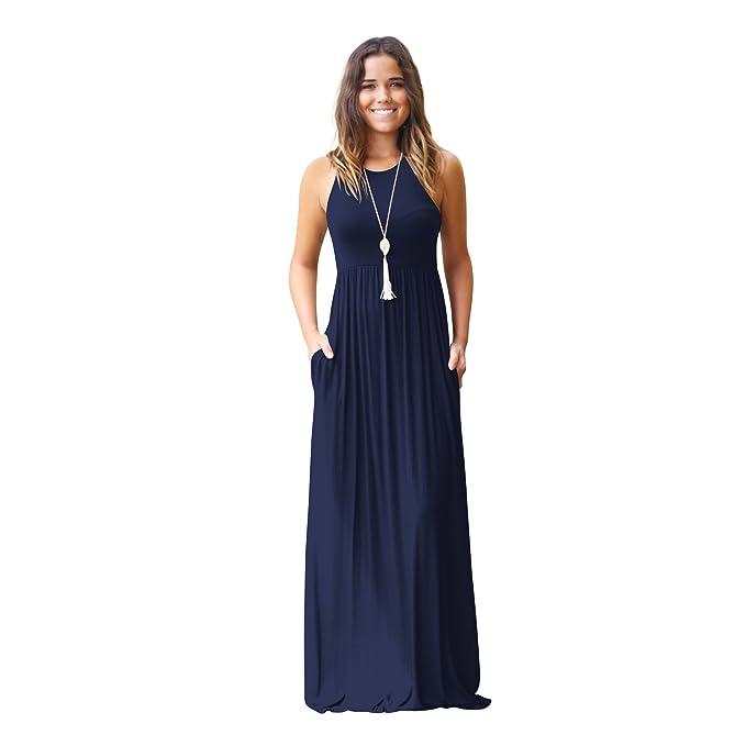 DEFOV Camiseta Vestidos de Verano Vestidos de señoras Vestidos Largos Ocasionales Vestidos Maxi con Bolsillos Vestidos