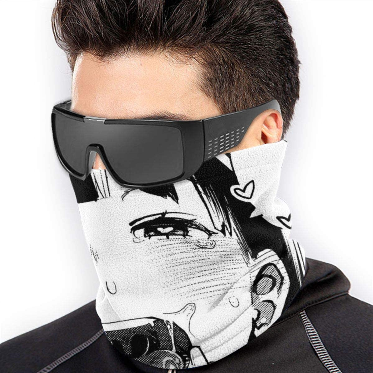 XXWKer Ahegao O-Face Warmer Neck Gaiter Windproof Mouth Face Ma-sk Magic Scarf Bandana Balaclava