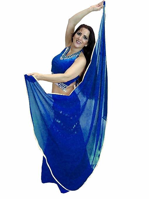 Bailarines Mundo Silver getrimmte semicírculo Veils Danza del Vientre – Disfraz Veil de embalaje – (
