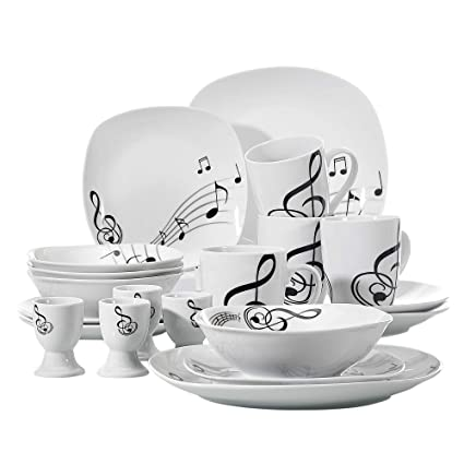 Amazon VEWEET 40Piece Porcelain Dinnerware Set Musical Note Delectable Patterned Dinnerware Sets