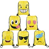 BeeGreen Emoji Party Supplies Favors Bags Drawstring Backpacks for Kids Teens Boys and Girls Birthday Goody Gift 6 Pack (Yellow)