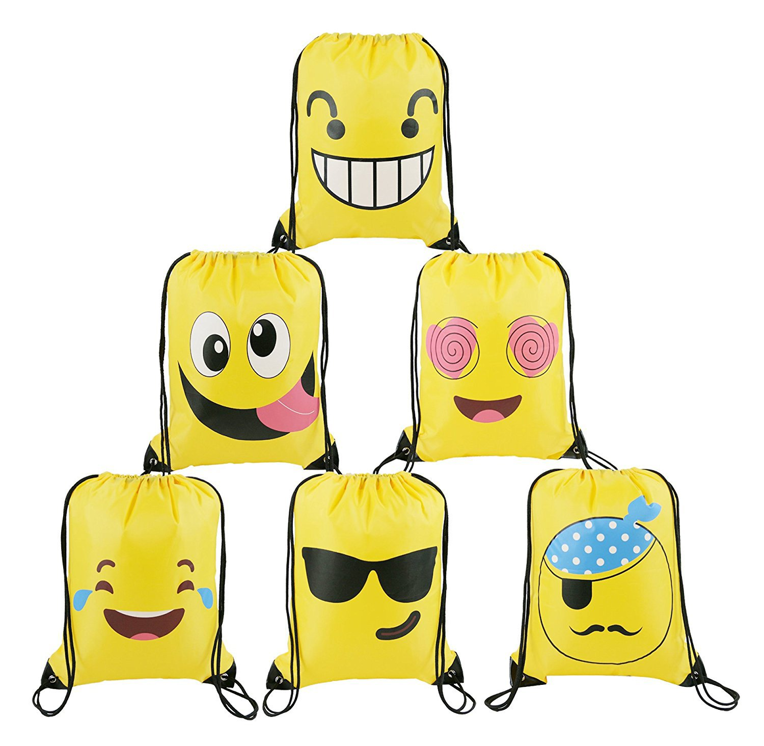 BeeGreen Emoji Party Supplies Favors Bags Drawstring Backpacks For Kids Teens Boys And Girls Birthday Goody