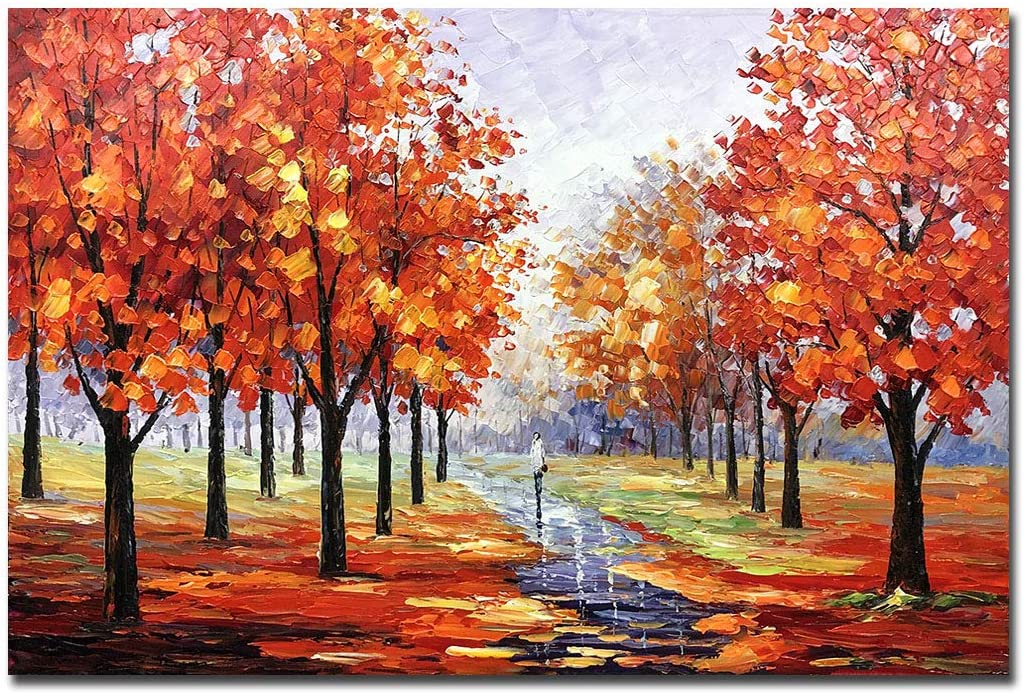 Boieesen Art,24x36Inch 100% Hand-Painted Red Blooming Tree Oil Painting Framed Rainy Fall Day Park Landscape Artwork Colorful Autumn Forest Canvas Paintings for Living Room Bedroom Wall Décor