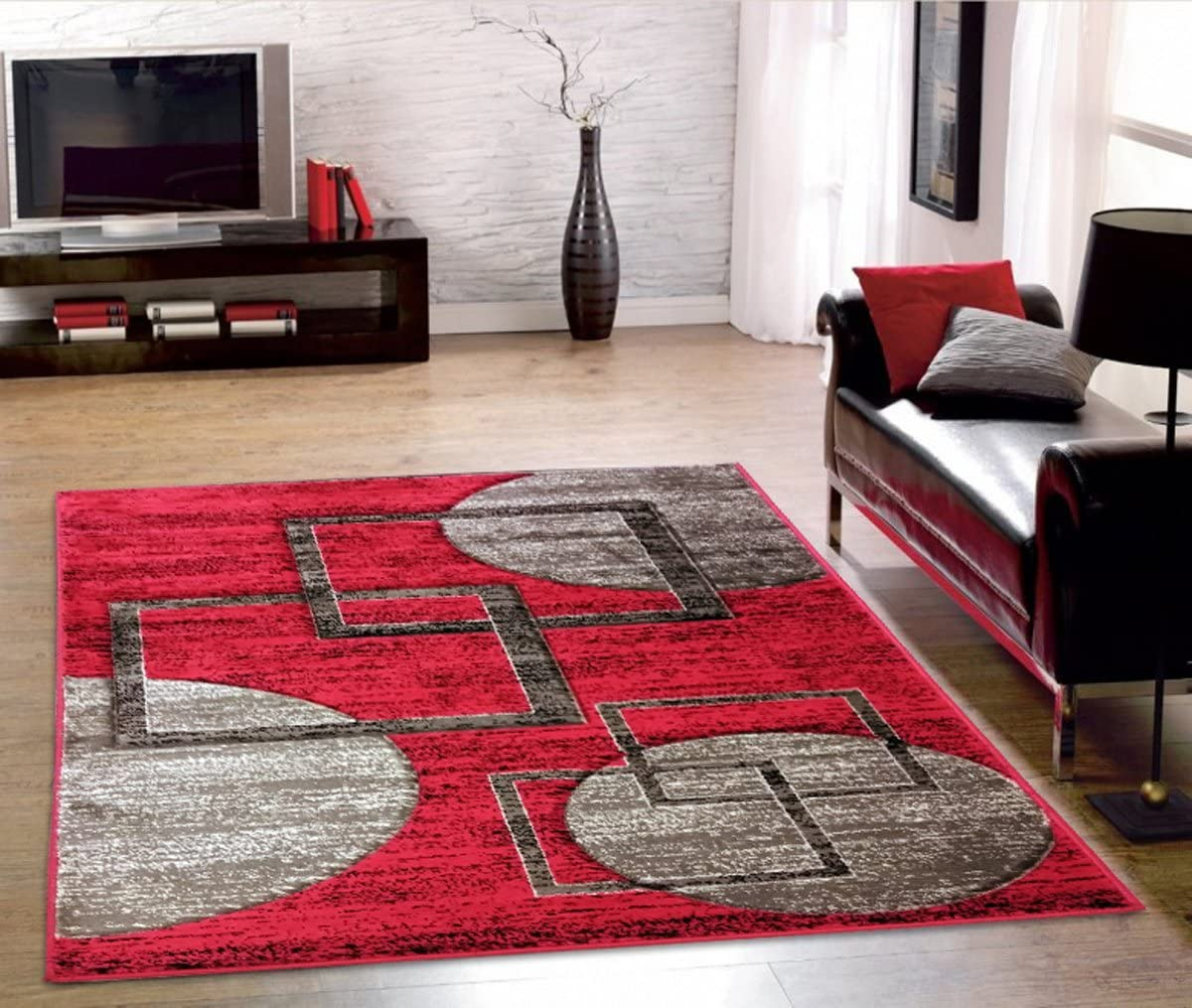 ADGO Atlantic Collection Modern Contemporary Abstract Geometric Circles and Square Red and Grey Living Dining Room Area Rug 8 x 10