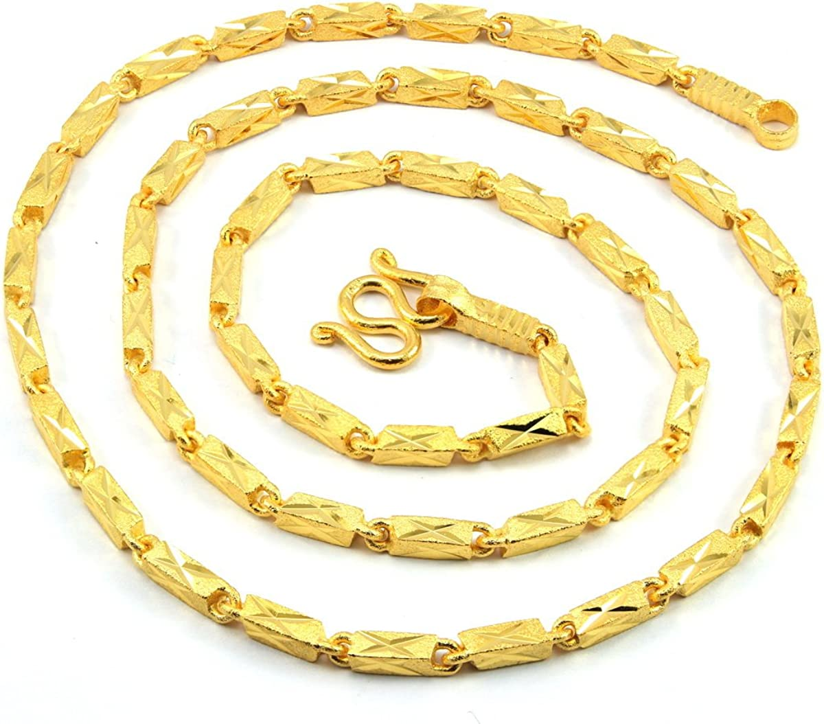 Awesome Men X Bar Link Baht Chain 24.5 inch 24k Gold Plated Thai Necklace Jewelry Thailand