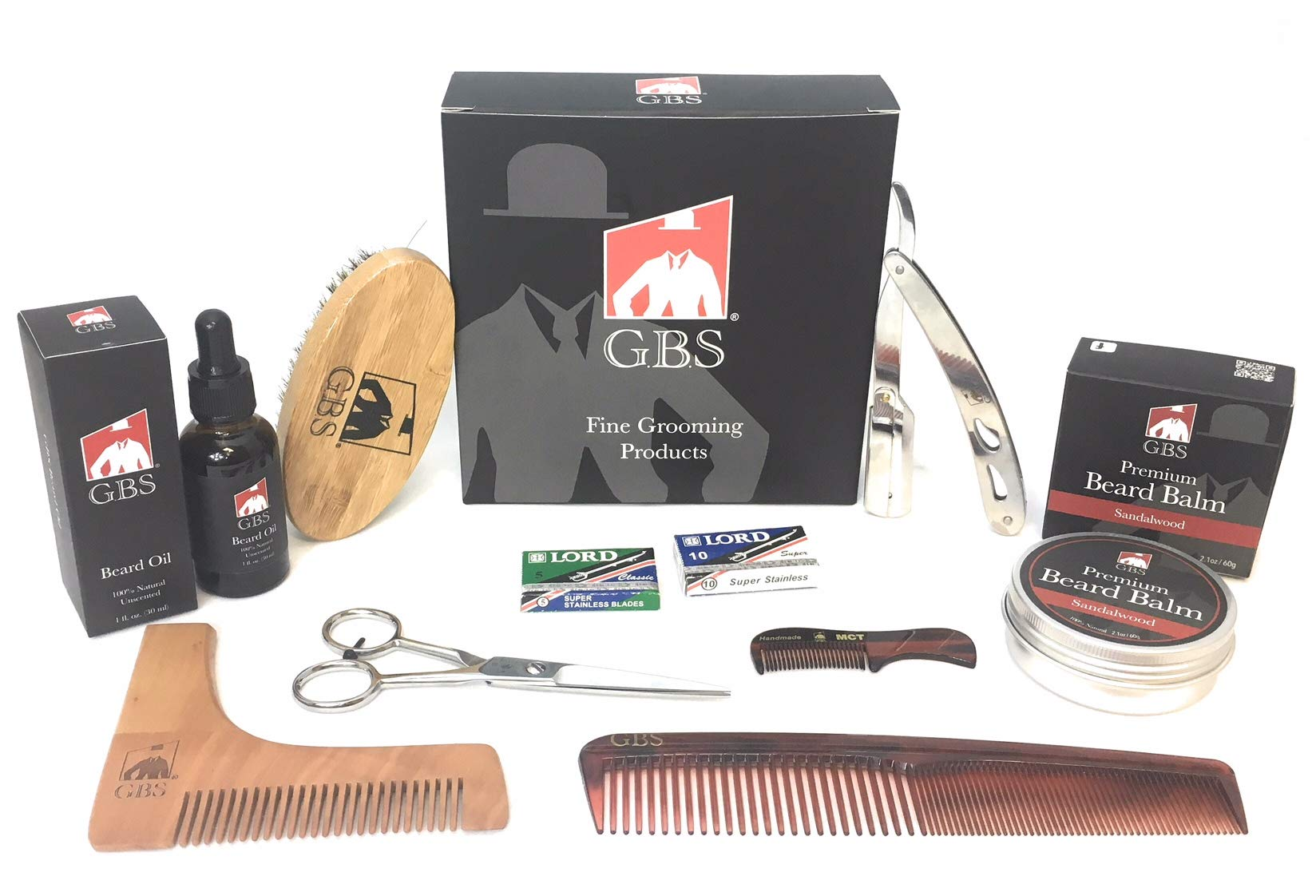 GBS Ultimate Shape and Style Beard Growth Grooming Kit - Beard Oil, Beard Balm, Brush, Barber Scissors,Template comb, Beard Comb, Straight Edge Shavette Razor, Mustache Comb + Blades!
