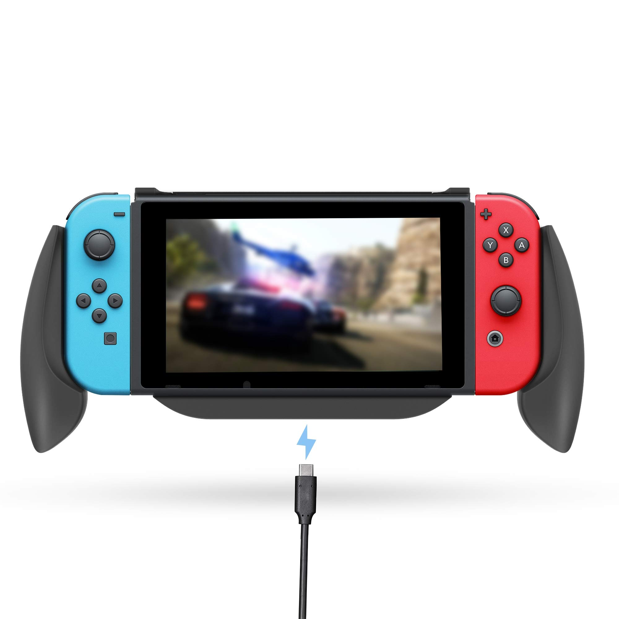 Lammcou Charging Grip for Nintendo Switch Comfort Charge Handle Stand Quick Charge Compatible 5V 2A AC Adapter, USB Charger with Type-C Cable for Nintendo Switch Console & Joy-con Controllers - Black by Lammcou
