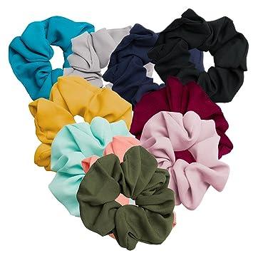 Amazon.com   CIEHER 10 Pack Hair Scrunchies Hair Bobbles Elastics Summer  Cool Colorful Scrunchy Hair Bands Ties 2cfbf75bd29