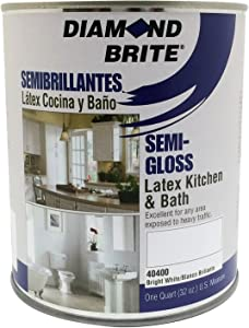 Diamond Brite Paint 40400 1 Quart Kitchen and Bath with Mildew Protection Semi Gloss Latex Paint White