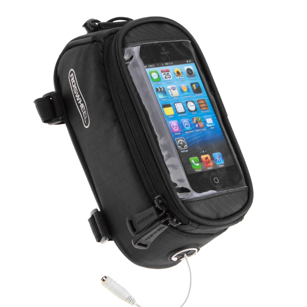 2817140ec2b Amazon.com   COTEetCI Bicycle Bike Frame Front Tube Beam Bag Transparent  PVC Cycling Pannier Pouch Basket for Phone Screen Touch Holder -Black    Sports   ...