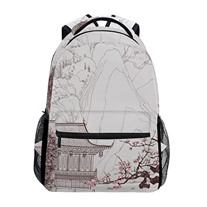 0d0ad9070693 School Backpacks Vector Illustration Of Chinese Landscape The Style Old  Painting Student Backpack Big For Girls
