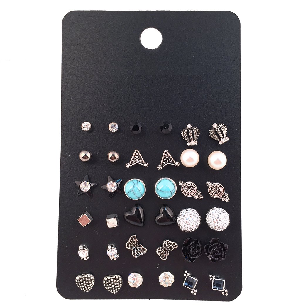 18 Pairs Multiple Silver and Black Earring Set for Women Crown Star Flower Stud Earring