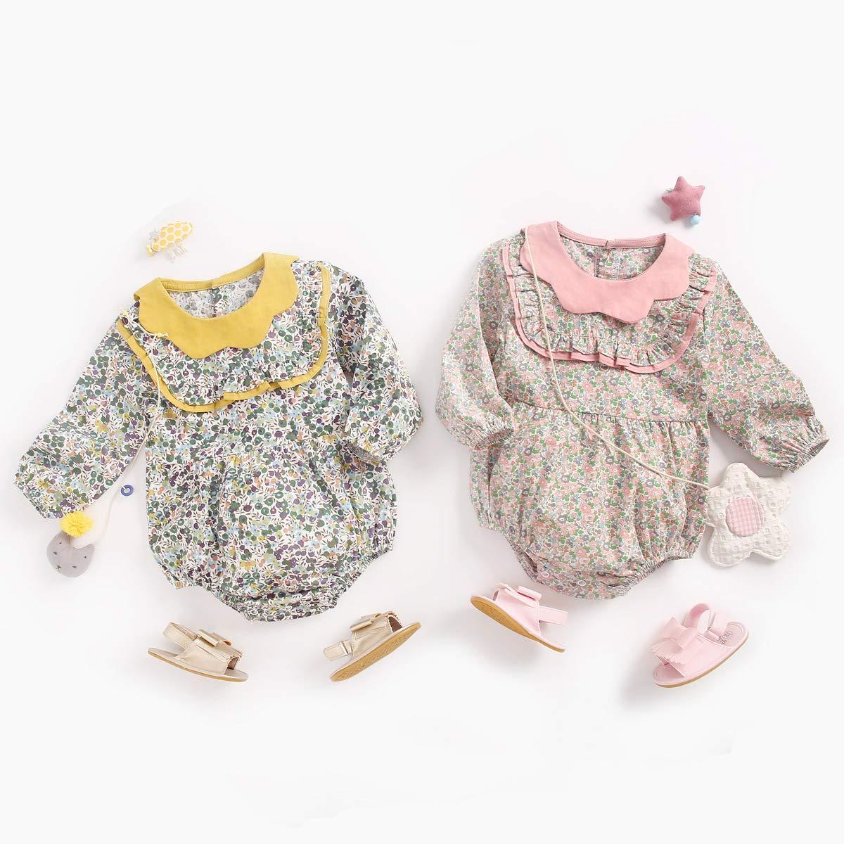 Sanlutoz Baby Girls Bodysuit Cotton Ruffled Long Sleeve Bodysuits for Toddler Girls