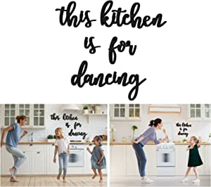 Zingoetrie This Kitchen is for Dancing Wall Decor, Kitchen Decor Wood Rustic Farmhouse Wall Art Wooden Wall Hanging for Home Apartment Modern Decor