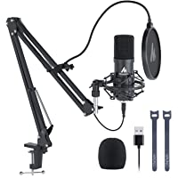 USB Microphone, MAONO 192KHZ/24Bit Plug & Play PC Computer Podcast Condenser Cardioid Metal Mic Kit with Professional…