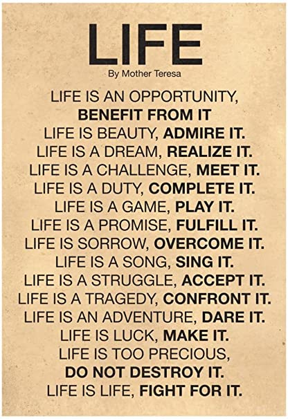 Genial Laminated Mother Teresa Life Quote Poster 13 X 19in