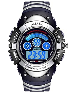 Children Sport Watches Kids Alarm Digital Watches LED Display Students Wristwatches (Small-Silver & Blue)