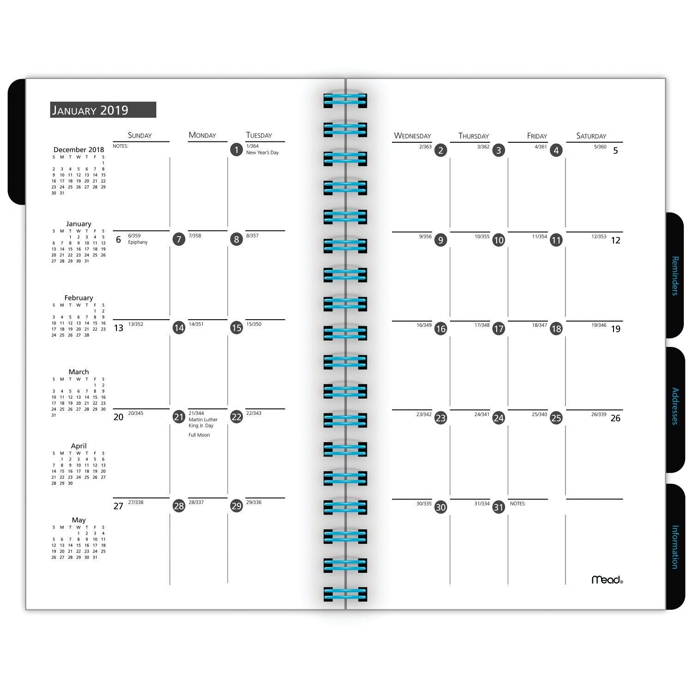 Mead Planificador semanal y mensual, enero 2019 tamaño – diciembre 2019, tamaño 2019 grande, color negro con varios colores de acento (CRW90810) de bolsillo be89e8