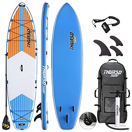 THURSO SURF Max Multi-Purpose Inflatable Stand Up Paddle Board SUP 116 x 34 x 6 Two Layer Deluxe Package Includes Carbon Shaft Paddle/2+1 Quick ...