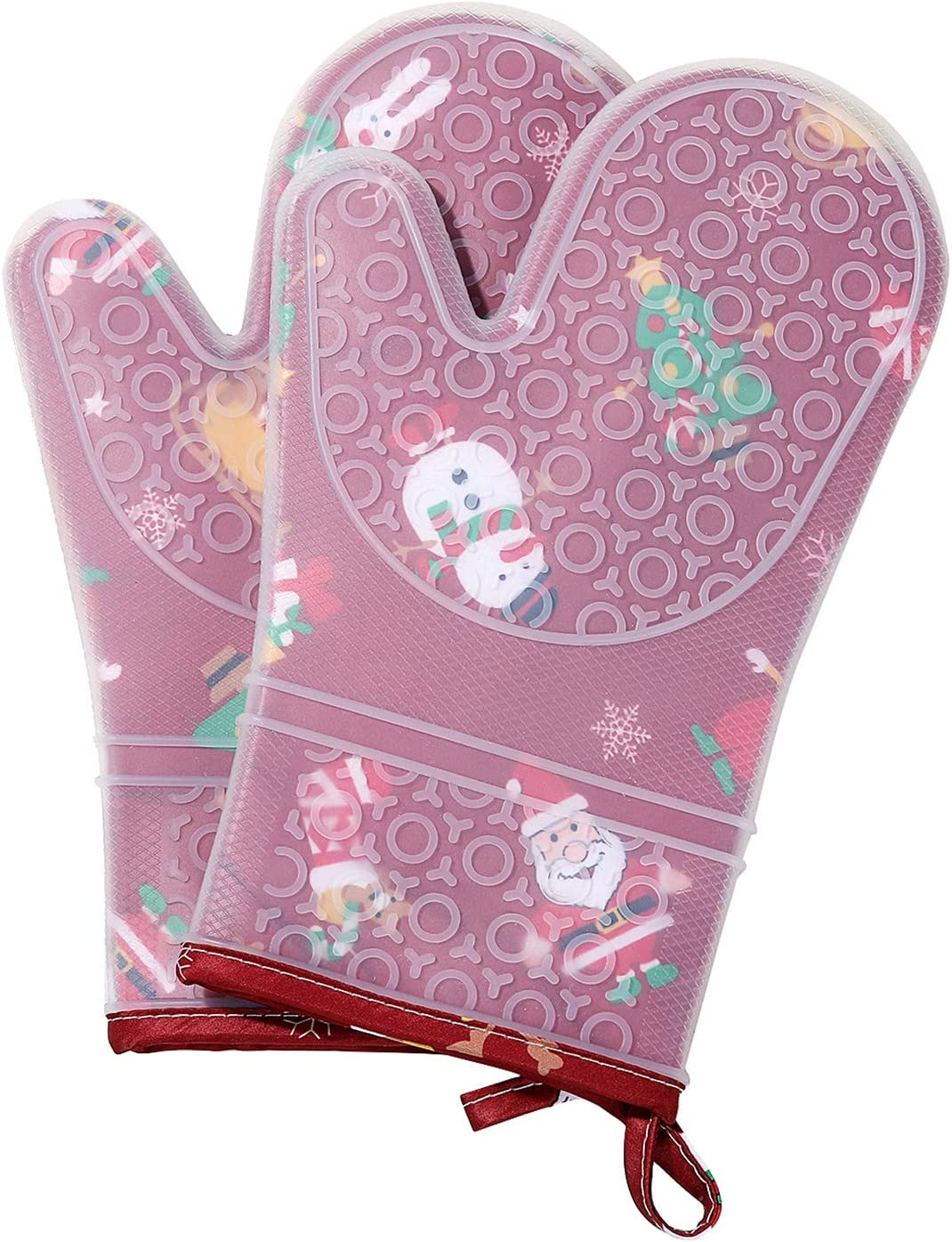 misaya Christmas Silicone Oven Mitts Non-Slip Heat Resistant Kitchen Pot Holders with Grill Basting Brush, Red Christmas
