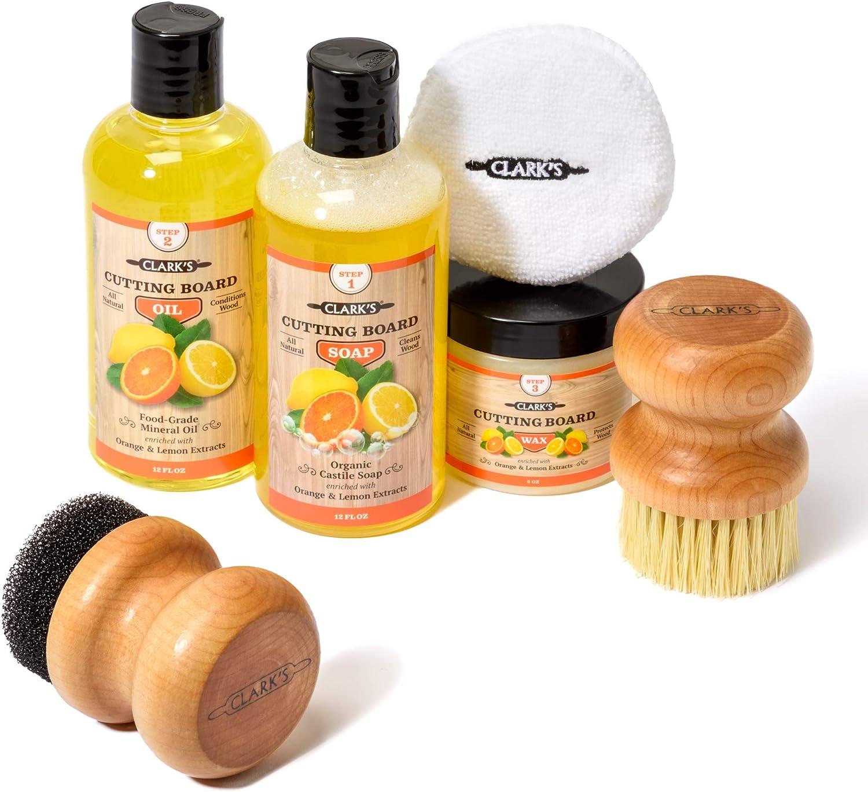 CLARK'S Complete Cutting Board Care Kit   Cutting Board Oil (12oz) - Soap (12oz) - Finish Wax (6oz) - Applicator - Scrub Brush - Finishing Pad   Orange & Lemon Scented