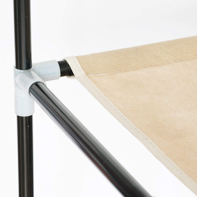 Artmoon Montreal Grande Armario Portable Plegable de lona Impermeable 12 Estantes de Ropa 135X45X175 cm Mocca