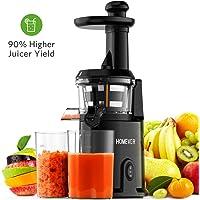 Entsafter Gemüse und Obst, Homever Slow Juicer Ausgestattet mit Einem Geräuscharmen Motor für Erstellen Sie Fruchtsaft Gemüsesaft (Schwarz)