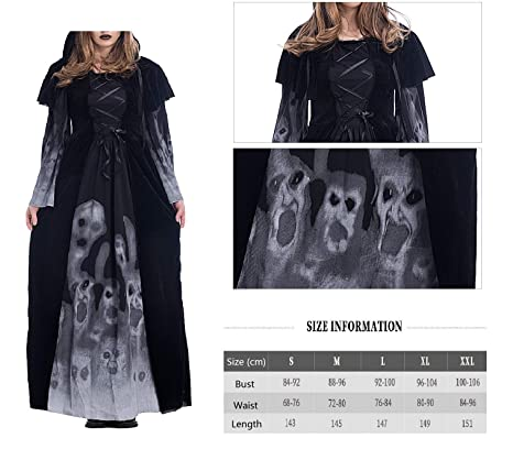 40660f0caf1 YuStar Women s Skull Printed Witch Plus-Size Dress Halloween Cosplay Party  Jumpsuit Fancy Costume (X-Large)  Amazon.co.uk  Clothing