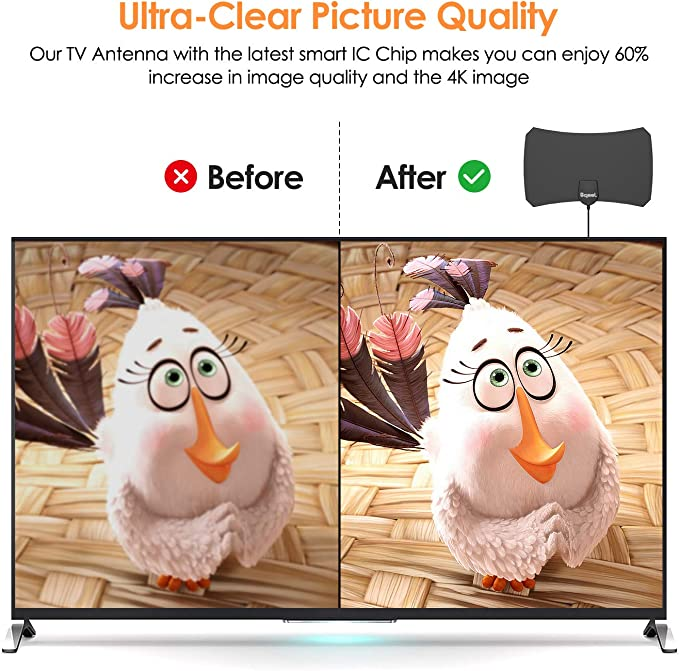Antena TV Interior- Bqeel Antena TV portátil HDTV Digital con Amplificador de señal Inteligente para Canales de TV 1080P 4K gratuitos para DTMB, ...