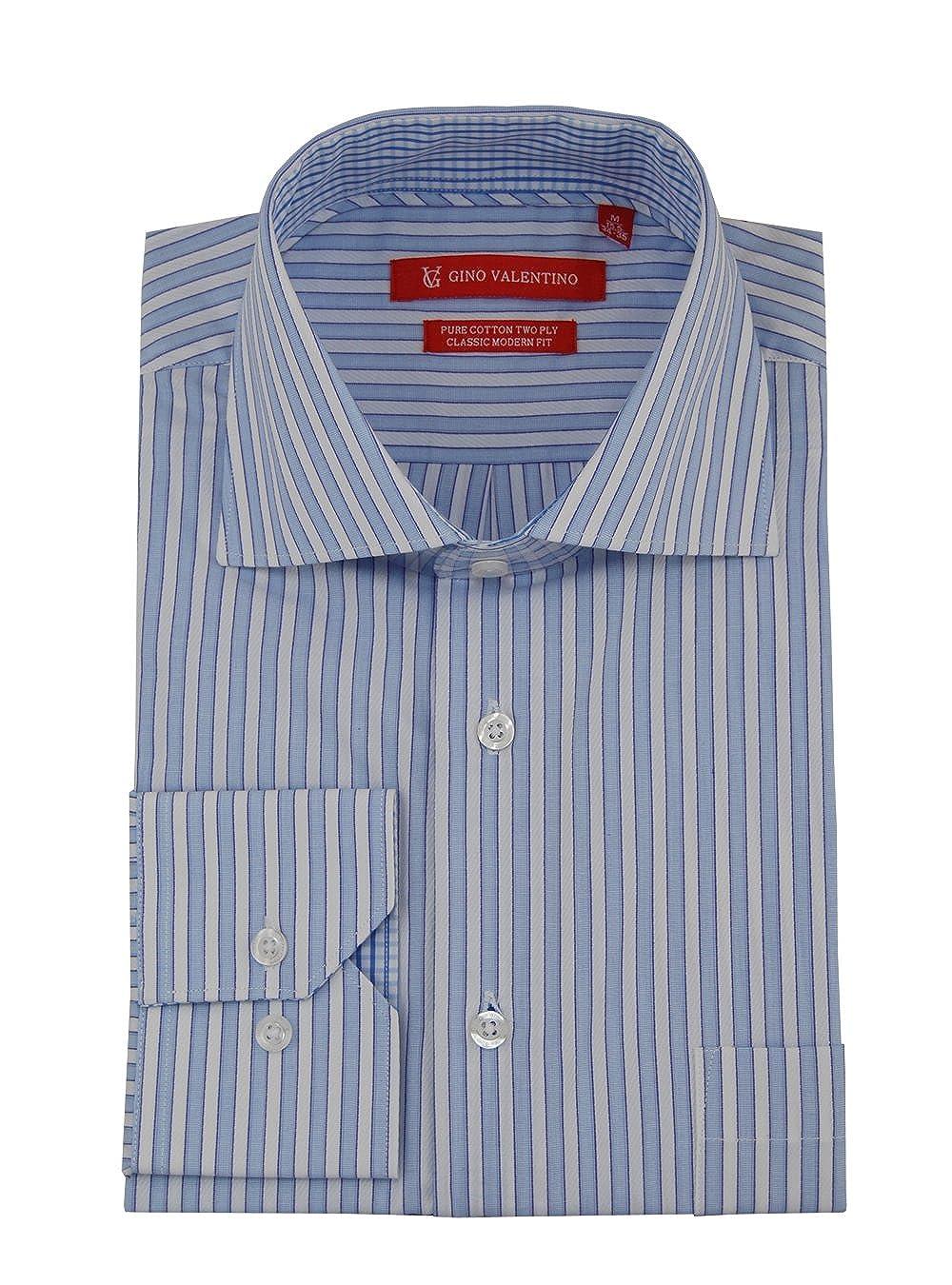 Gino Valentino Mens Striped Dress Shirt Cotton Spread Collar Barrel