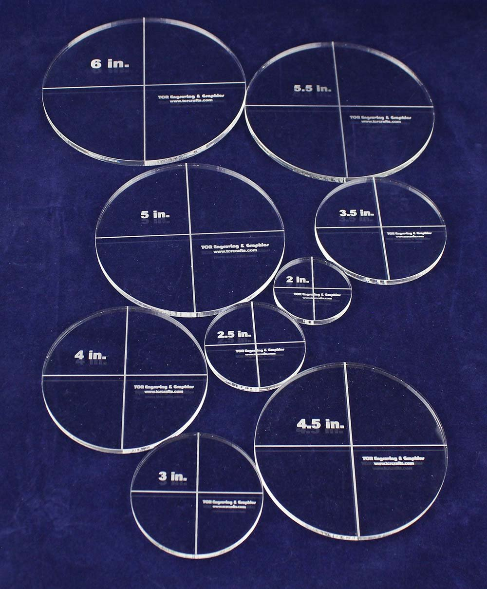 Circle Template 9 Piece Set Clear 1/4 Inch Thick Acrylic 2 to 6 Inches by TCR Crafts