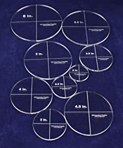 6 inches,  6 interlocking shapes Round//circular quilting template set