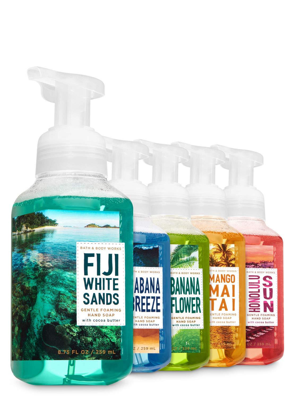Bath and Body Works Tropical Island Luau Soap: Fiji White Sands + Honolulu Sun + Cabana Breeze + Mango Mai Tai + Banana Flower - Set of 5 Gentle Foaming Island Hand Soaps