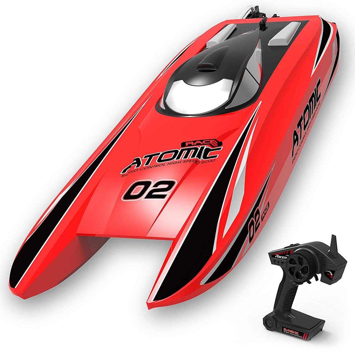 VOLANTEXRC Brushless RC Boat 40mph High Speed Remote Control Ship Atomic 28inch Unibody Hull, Improved Waterproof Design in Lakes, Rivers for Adults, Boys or Girls (792-4 RTR Red)