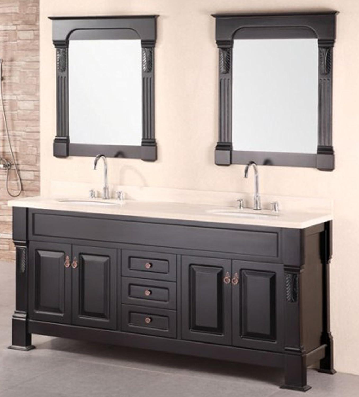 Design Element Marcos Double Sink Vanity Set Wih Crème Marfil Marble